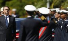 O presidente Jair Bolsonaro em solenidade militar Foto: Jorge William / Agência O Globo