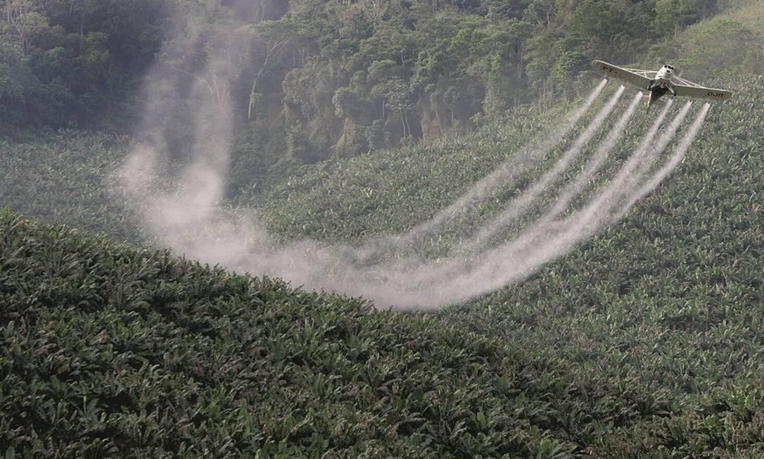 O uso de aviões na pulverização de agrotóxicos foi banido em países desenvolvidos. No Brasil, a prática continua legal, causando riscos à saúde dos homens e deterioração do ambiente. Foto: Lalo de Almeida / Folhapress