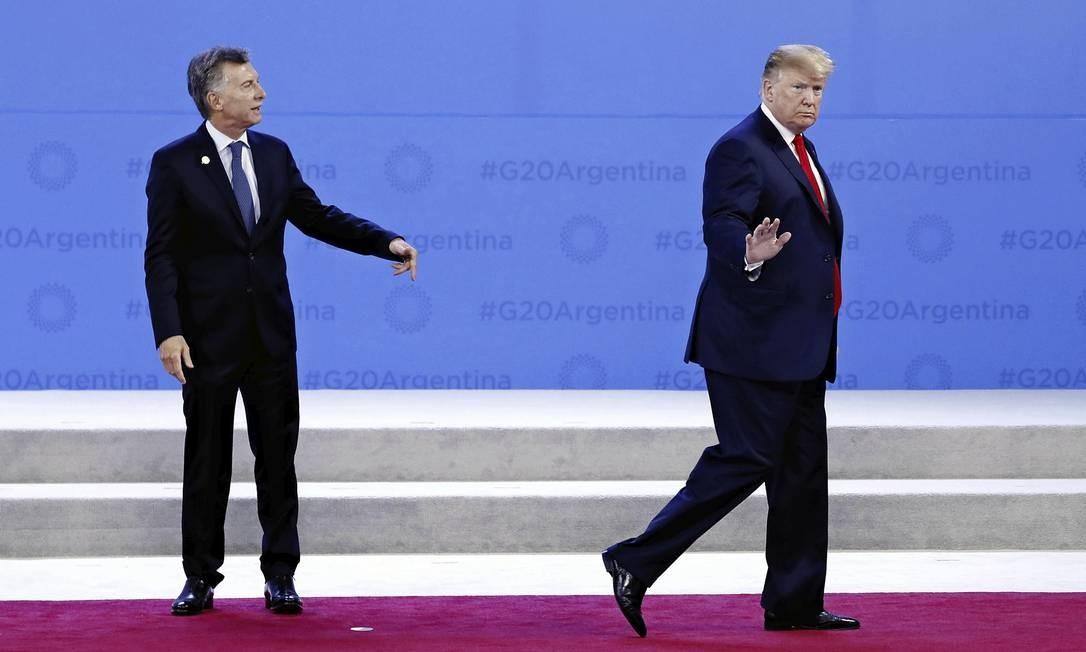 Os presidentes Donald Trump e Mauricio Macri, em Buenos Aires. Eles são os aliados preferenciais de Bolsonaro. Foto: Kyodo News via Getty Images