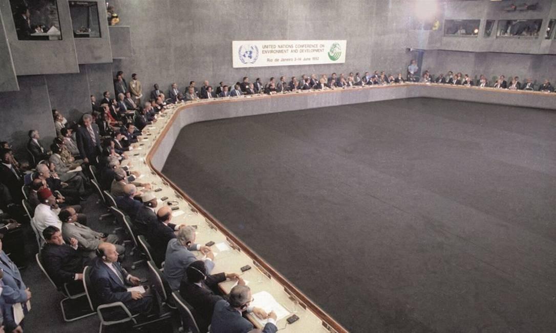 Com a presença de 102 chefes de Estado ou de governo, a Eco-92 foi o evento internacional mais importante já realizado no país. Foto: Ivo Gonzalez / Agência O Globo