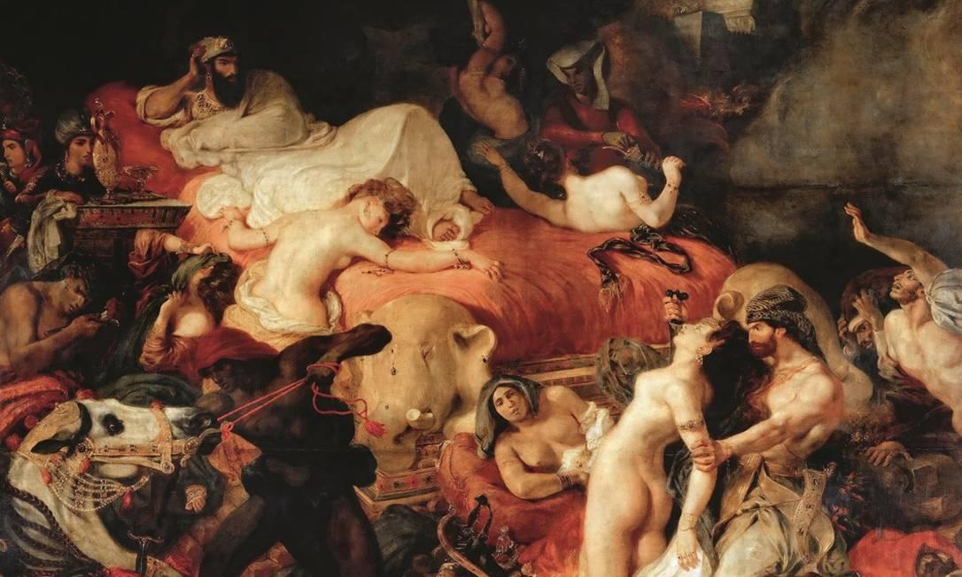 """""""A morte de Sardanápalo"""", de Eugène Delacroix. A miséria humana retratada na obra foi uma das inspirações de """"As flores do mal"""". Foto: Getty Images"""
