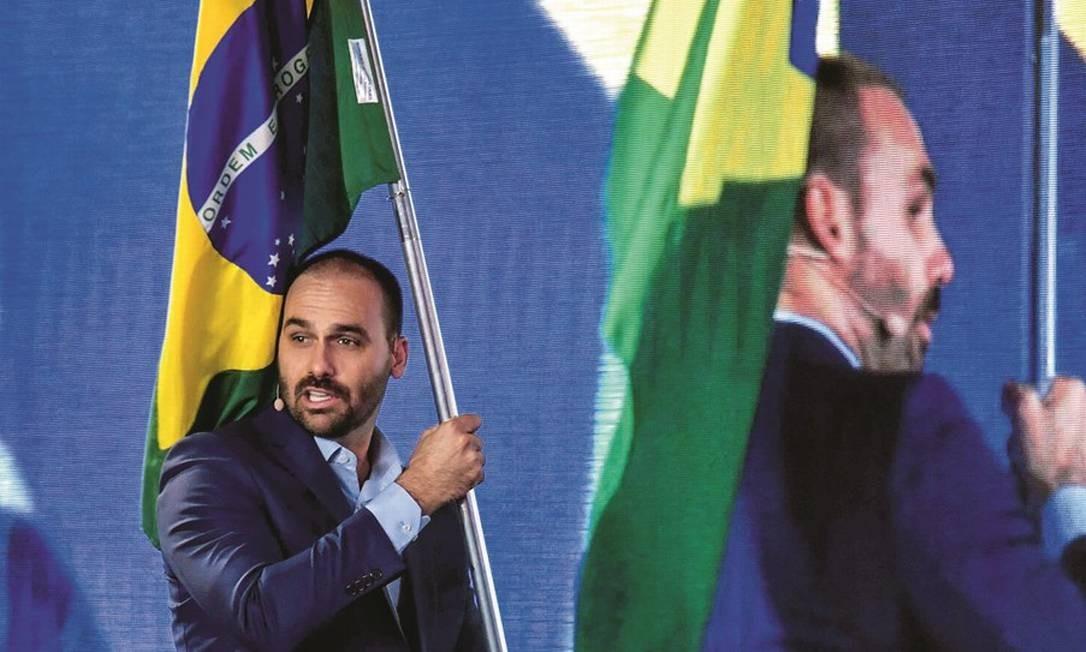 """Eduardo Bolsonaro protagoniza a versão brasileira da conferência conservadora americana CPAC. Combater os efeitos do """"globalismo"""" no Brasil está entre as metas. Foto: Nelson Almeida / AFP"""
