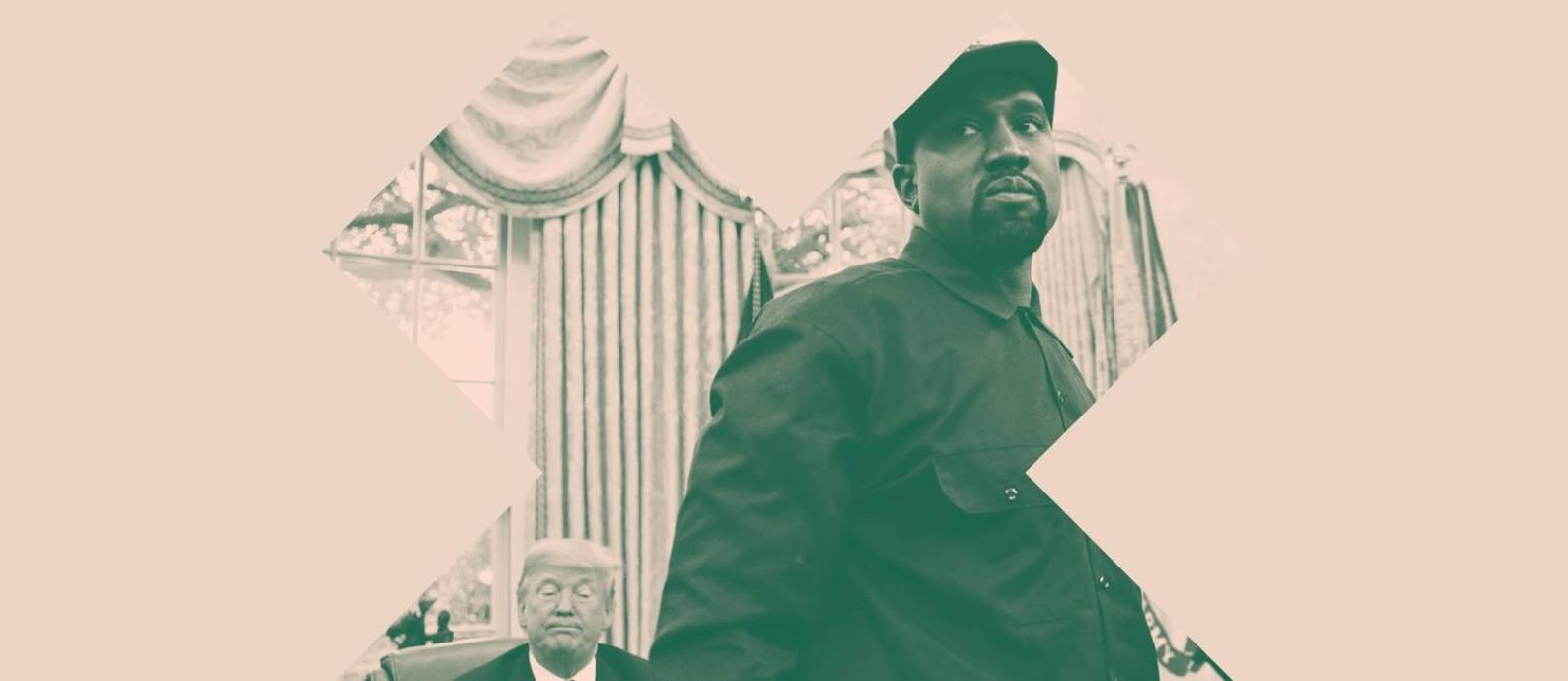 """O rapper Kanye West, notório bad guy da música, foi """"cancelado"""" depois de se dizer eleitor de Donald Trump e listar os benefícios da escravidão. Foto: Arte sobre foto de Andrew Harrer / Bloomberg / Getty Images"""