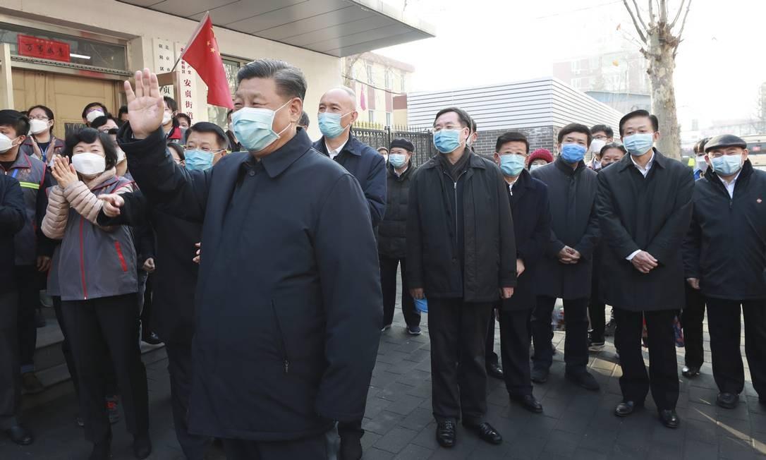 Xi Jinping só apareceu em ruas e hospitais na segunda semana de fevereiro. Foto: Pang Xinglei / Xinhua / AFP
