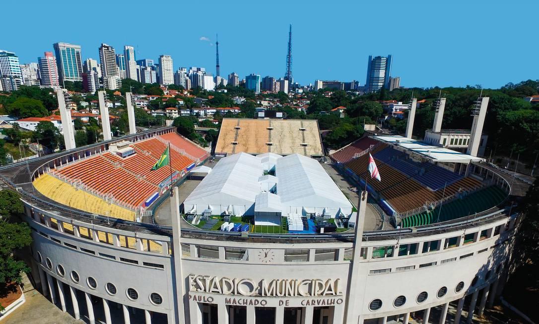 O Hospital de Campanha do Pacaembu, em São Paulo, já recebeu cerca de 400 pacientes. Foto: Marcelo D. Sants / FramePhoto / Folhapress