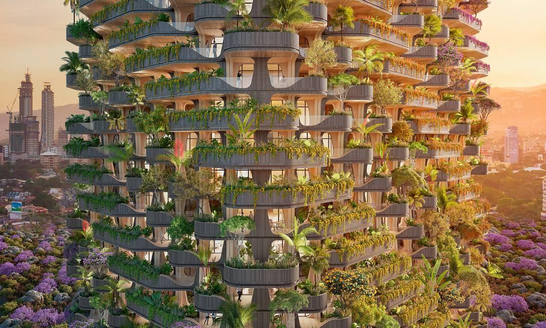 Projeto do arquiteto Vincent Callebaut, referência do movimento solarpunk, que defende um futuro mais cheio de luz. Foto: Vincent Callebaut Architectures / Reuters