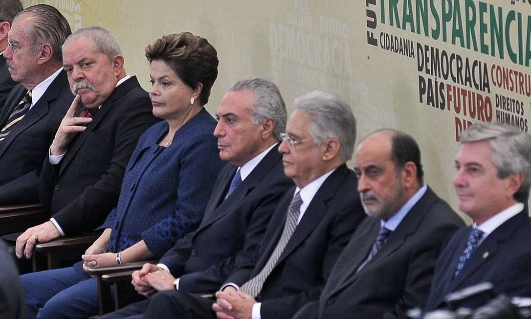 Os ex-presidentes vivos se reuniram uma única vez, em 2012, quando Temer ainda era vice de Dilma. O encontro deveria ser repetido. Foto: Antônio Cruz / Agência Brasil