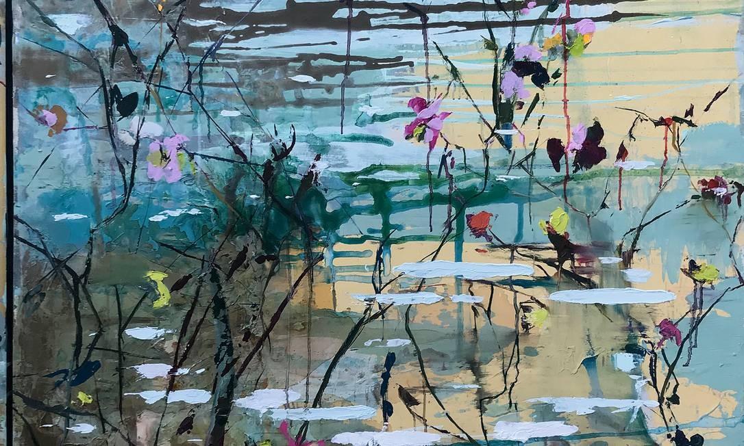 Quadro da artista plástica Ana Durães, que se mudou para Petrópolis, no Rio de Janeiro, e está trabalhando muito numa série nova de pinturas. Foto: Divulgação / Ana Durães