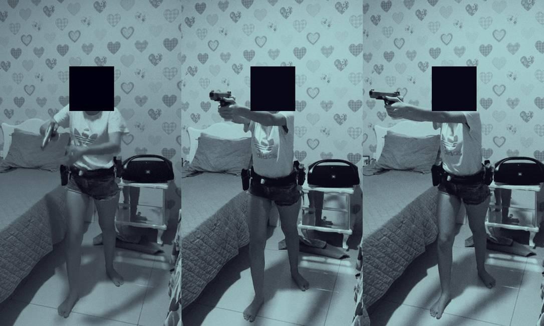 Em seu quarto, Júlia pratica o tiro a seco, quando se dispara a arma sem munição apenas para treinar a rapidez no gatilho. Foto: Reprodução