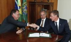 Quando André Beltrão assumiu o Banco do Brasil, com o apoio do ministro Paulo Guedes, Jair Bolsonaro era só sorrisos. Foto: Alan Santos / PR