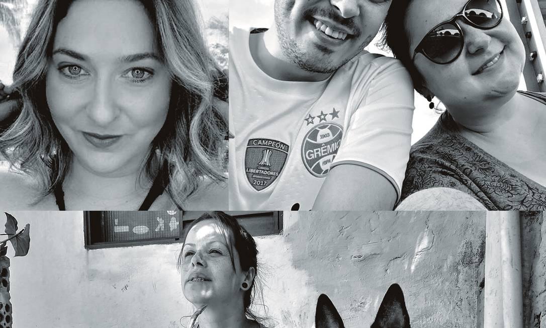 A empresária Fulvia Gouveia Marques Vieira (à esq.) morreu aos 38 anos em Araraquara, São Paulo. Em Porto Alegre, a bancária Daiane Varella, de 32 anos (com o namorado), sobreviveu à Covid-19. A atendente de farmácia Sheila Nascimento Meirelles (com o cachorro), de 39 anos, também gaúcha, não teve a mesma sorte. Foto: Fotos de arquivo pessoal