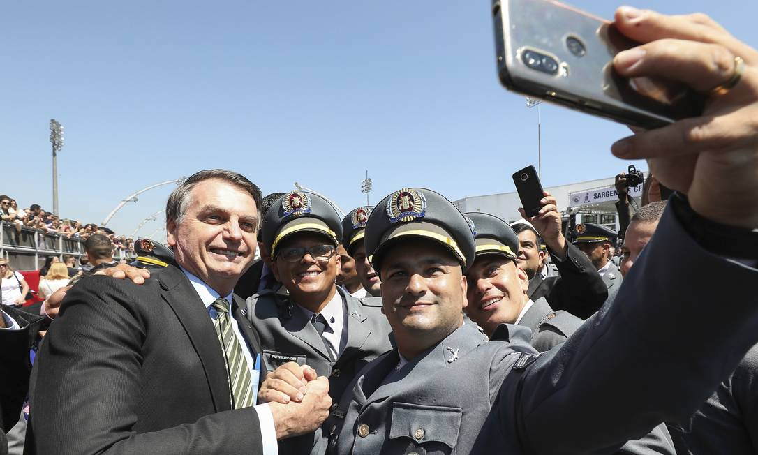 Jair Bolsonaro em solenidade de encerramento de curso da PM em São Paulo. Foto: Marcos Corrêa / PR