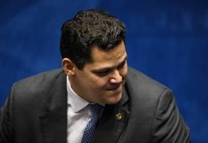 O presidente do Senado, Davi Alcolumbre Foto: Daniel Marenco / Agência O Globo