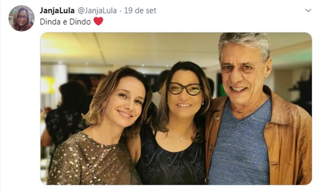 Namorada de Lula com Chico Buarque e Carol Proner Foto: Reprodução
