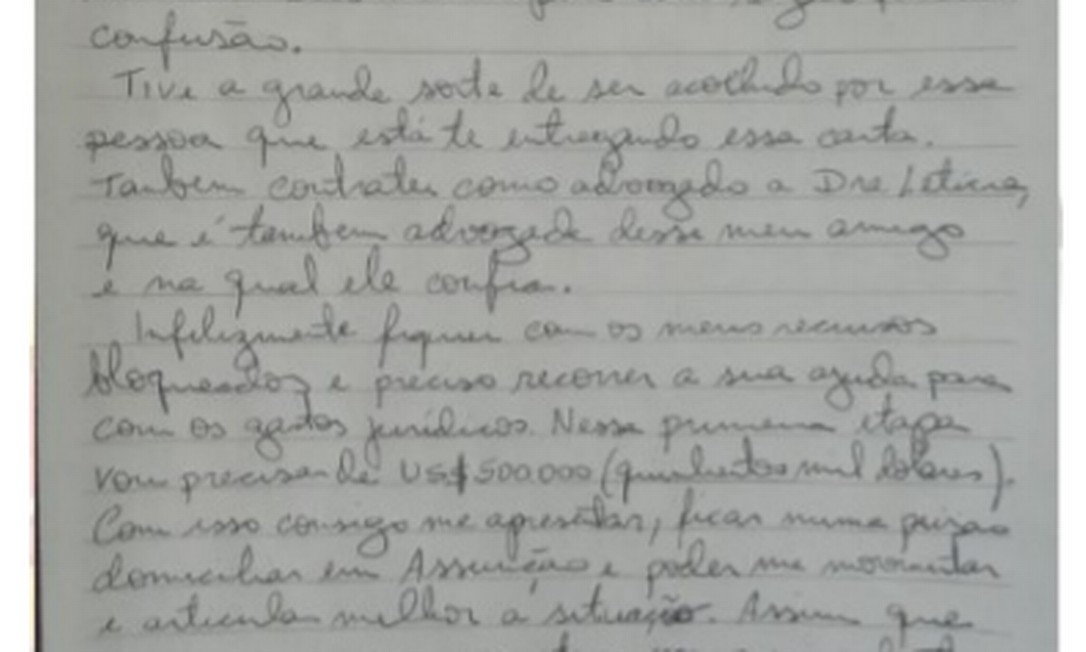 Carta Dario Messer Foto: Reprodução