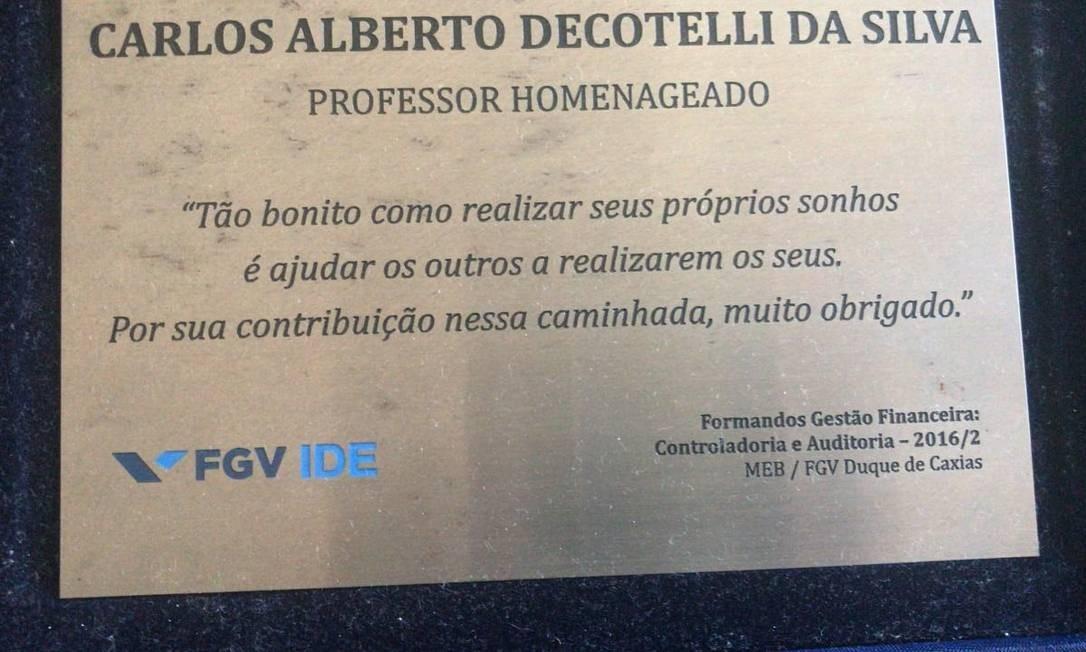 Homenagem da FGV a Decotelli Foto: Reprodução