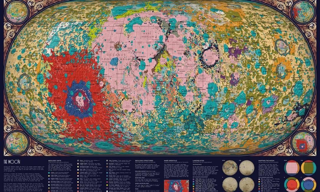 Mapa da geologia da Lua, uma das 'obras de arte' da bióloga americana Eleanor Lutz em seu site Tabletop Whale Foto: Eleanor Lutz/Tabletop Whale