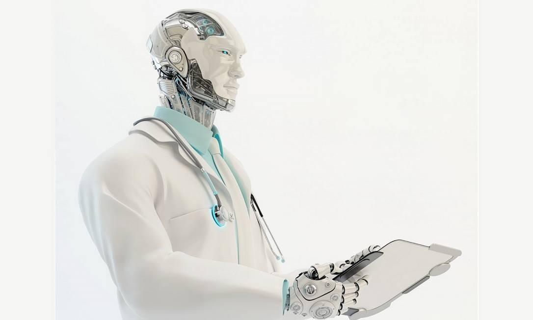 Doutor robô: inteligência artificial pode ser tão eficaz quanto humanos no diagnóstico a partir de exames de imagem, mas você ficaria confortável ao ser atendido e tratado apenas por uma máquina? Foto: Reprodução