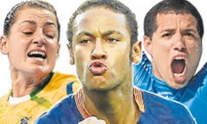 Duda Amorim, fera do handebol; Neymar, craque maior do futebol brasileiro; e Mineirinho, campeão mundial de surfe Foto: Montagem Arte O Globo
