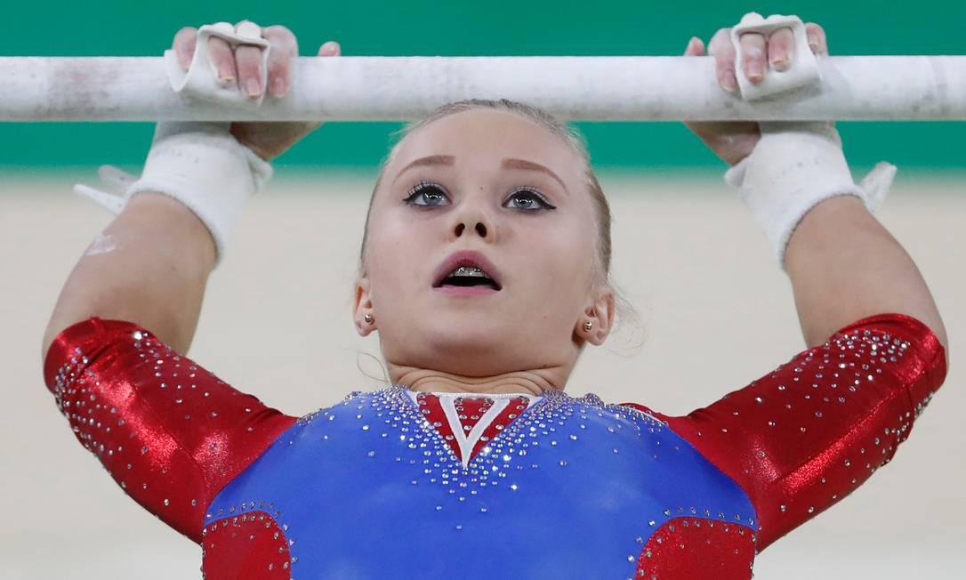 A Arena Olímpica do Rio é o palco das apresentações de ginástica artística. Na foto, a russa Angelina Melnikova THOMAS COEX / AFP