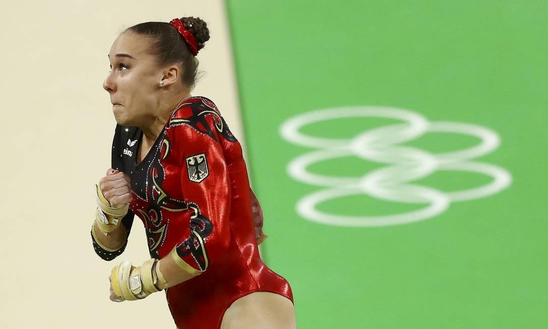 Tabea Alt, da Alemanha, durante sua performance na Arena Olímpica do Rio, na Barra MIKE BLAKE / REUTERS