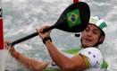 Pedro Henrique durante a prova de canoagem slalom Foto: Marcelo Carnaval / Agência O Globo