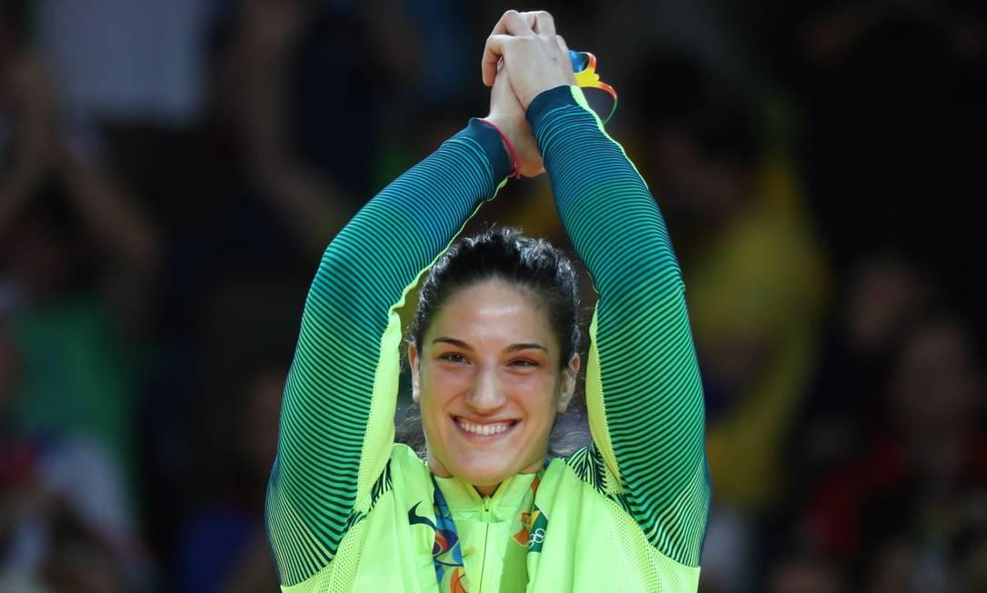 Mayra Aguiar celebra a conquista do bronze na Arena Carioca 2, na Barra Marcelo Carnaval / Agência O Globo