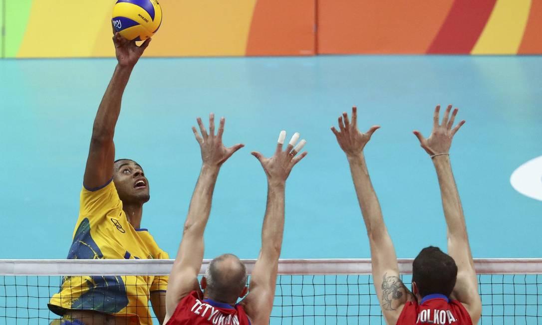 A partida entre Brasil e Rússia valia uma vaga na final do torneio de vôlei dos Jogos do Rio-2016 YVES HERMAN / REUTERS