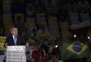 Thomas Bach, presidente do Comitê Olímpico Internacional, deu parabéns ao Brasil pela realização dos Jogos Foto: STOYAN NENOV / REUTERS