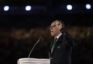 Carlos Arthur Nuzman discursa na cerimônia de encerramento dos Jogos do Rio-2016 Foto: David Goldman / AP