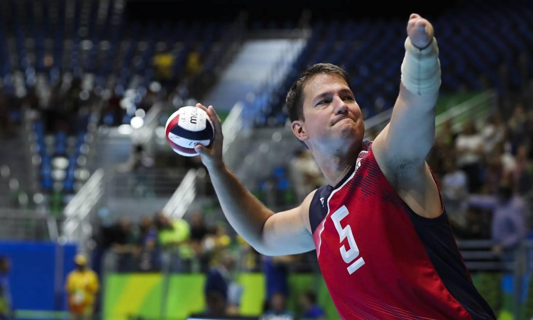 Na partida do vôlei sentado, entre Brasil e EUA, as parciais foram de 25/14, 25/17 e 25/14 Mõnica Imbuzeiro / Agência O Globo