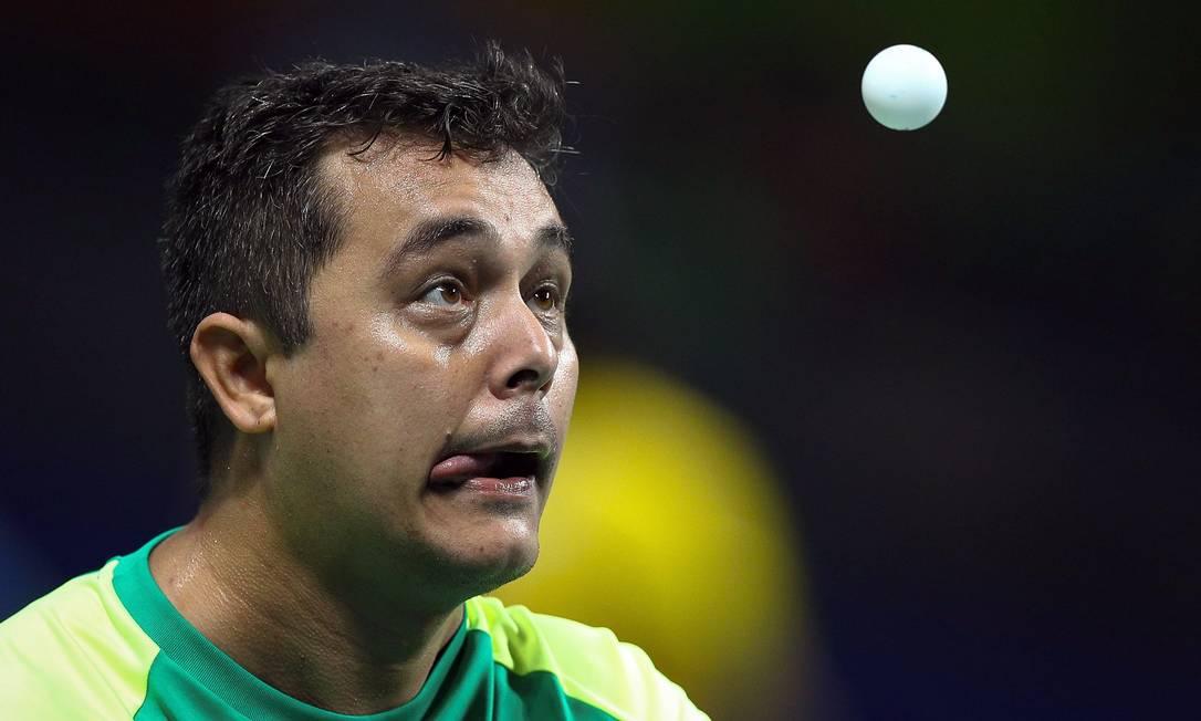 A dupla brasileira David Freitas e Welder Knaf jogou a quartas de final do tênis de mesa contra a Coreia PABLO JACOB / Agência O Globo
