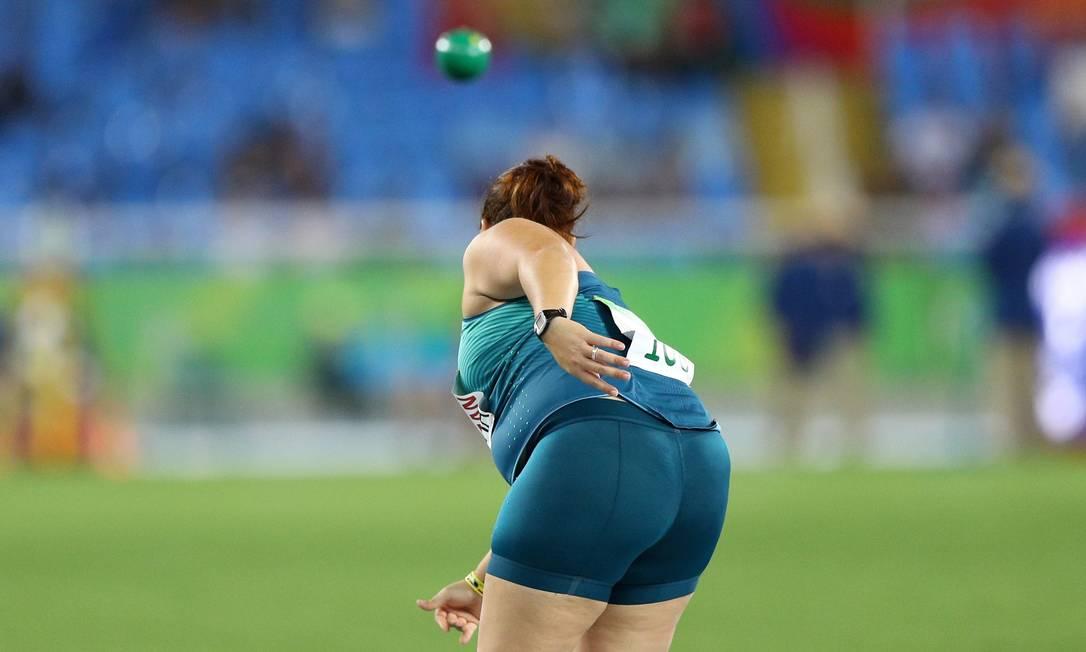 Marivana Nóbrega, durante o arremesso de peso (F35). Atleta ficou a medalha de bronza na Paralimpíada Pablo Jacob / Agência O Globo