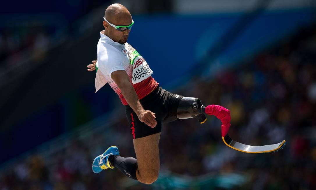 O japonês ganhou a medalha de prata no salto em distância (T42) Foto: Mauro Pimentel / AP