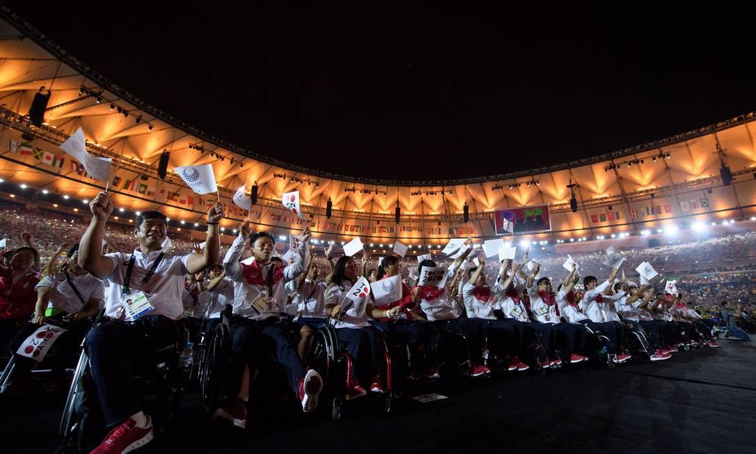 Atletas japoneses durante a cerimônia de encerramento; o Japão vai sediar os próximos Jogos Olímpicos Thomas Lovelock for OIS/IOC / Agência O Globo