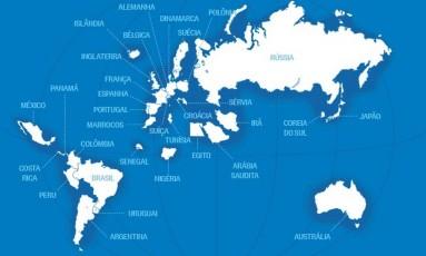 O mapa do mundo com apenas 32 países Foto: Editoria de Arte / O Globo