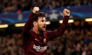 Pela primeira vez, Lionel Messi marcou contra o Chelsea Foto: ANDREW BOYERS / Action Images via Reuters