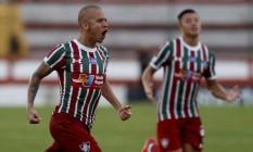 Marcos Júnior comemora um dos seus dois gols na vitória do Fluminense por 4 a 0 Foto: Marcelo Theobald / Agência O Globo