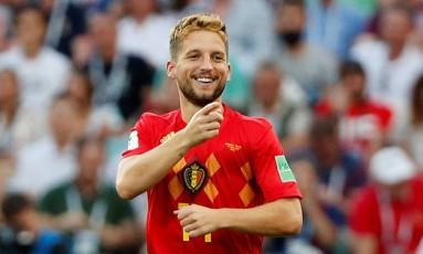 Mertens comemora seu belo gol, que abriu o caminho para a vitória da Bélgica contra o Panamá Foto: MAX ROSSI / REUTERS