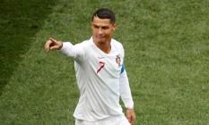 Cristiano Ronaldo após marcar o gol que abriu o placar contra o Marrocos Foto: CHRISTIAN HARTMANN / REUTERS