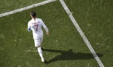 Cristiano Ronaldo durante partida contra o Marrocos Foto: MLADEN ANTONOV / AFP