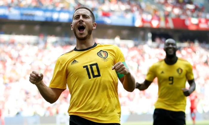 Acompanhado Por Lukaku Hazard Comemora Um De Seus Dois Gols Contra A Tunisia Carl Recine Reuters