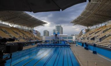 Centro Aquatico Maria Lenk, antes do inicio de uma competicao mundial de saltos ornamentais,em 2016 Foto: Daniel Marenco / Agência O Globo