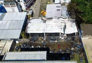 Alojamento do Flamengo após o incêndio. Foto: THIAGO RIBEIRO / AFP