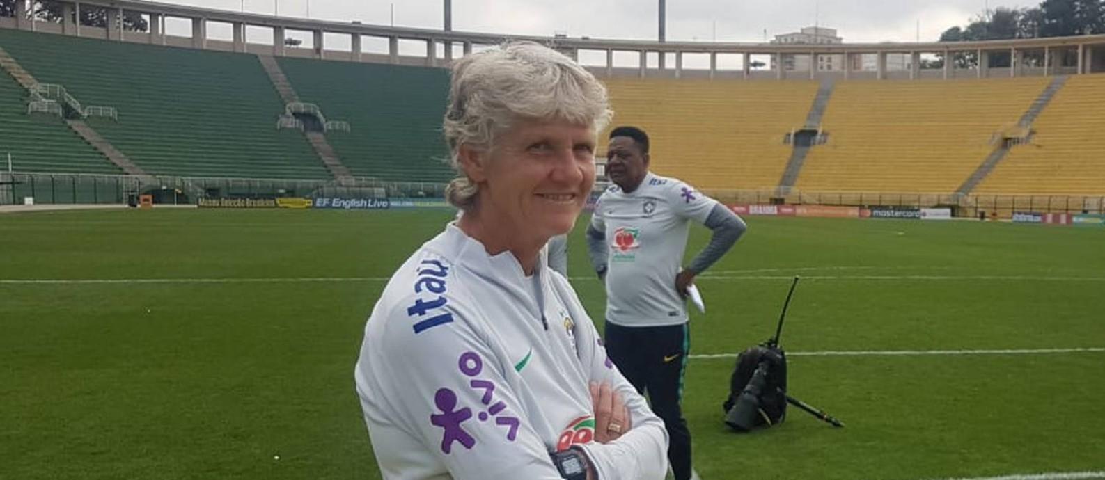 Pia Sundhage no treino da seleção feminina de futebol Foto: Adalberto Leister Filho