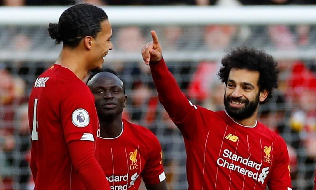 Salah comemora primeiro gol contra Watford, pelo Inglês. Foto: PHIL NOBLE / REUTERS