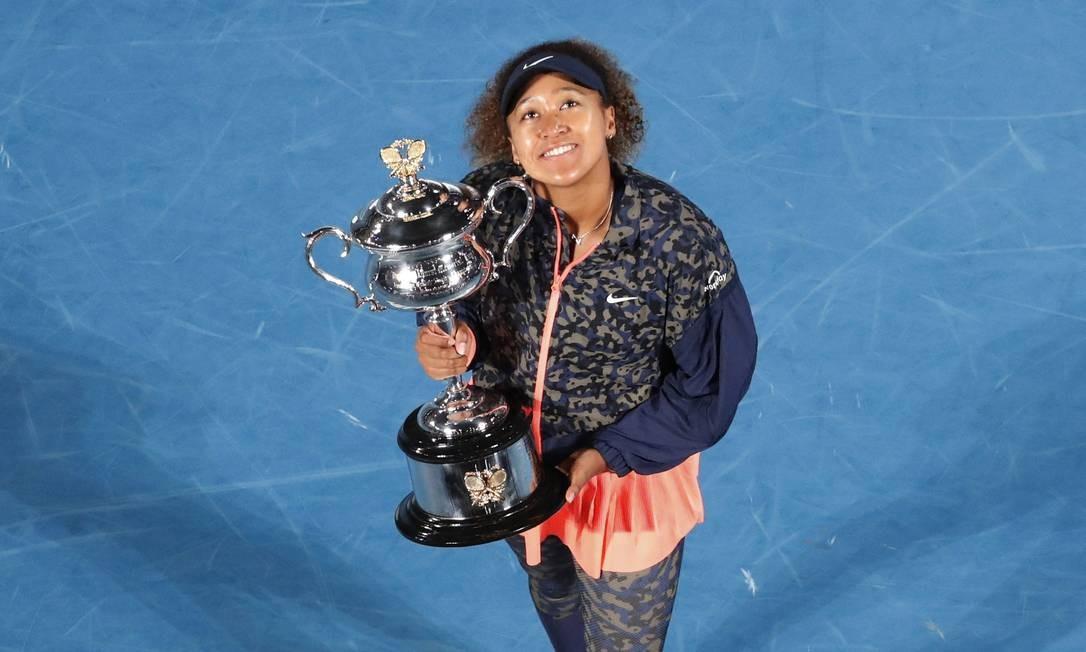 Osaka comemora título do Austraçlian Open após vitória contra Brady Foto: ASANKA BRENDON RATNAYAKE / REUTERS