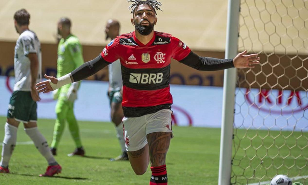 Gabigol marcou o primeiro gol do Flamengo sobre o Palmeiras Foto: Divulgação Flamengo