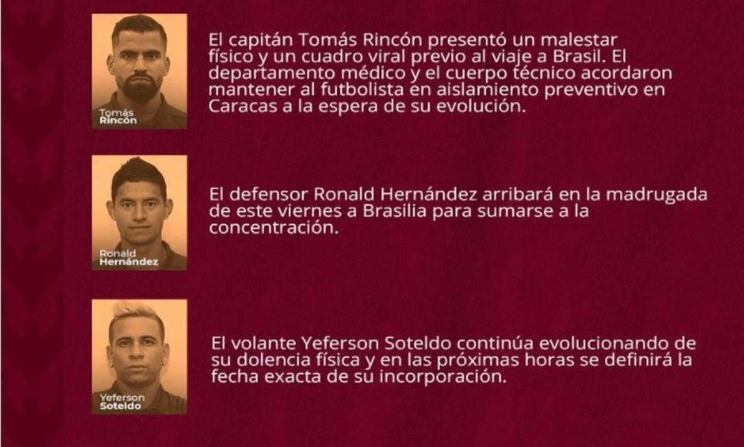 Aviso da seleção da Venezuela sobre Rincón Foto: Reprodução Twitter