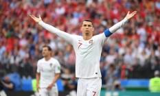 Cristiano Ronaldo marcou todos os quatro gols de Portugal na Copa do Mundo até aqui Foto: KIRILL KUDRYAVTSEV / AFP